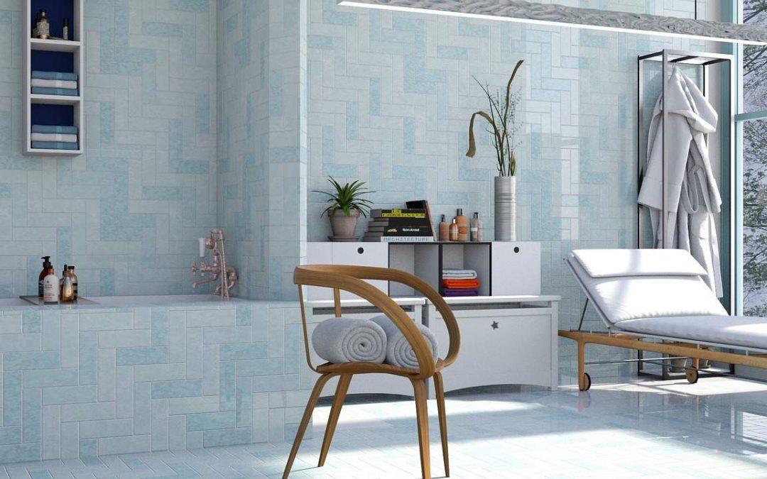Bathroom with Blue wall tiles