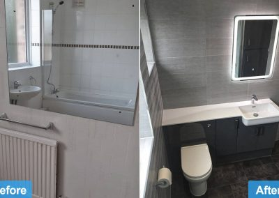 Bathroom Renovation in Leicester LE4 - Before and after photo