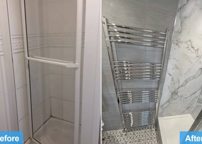 Family bathroom remodel Leicester before and after photo